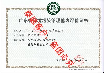 广东省环境污染治理能力评价-8江门(废水废气临时)
